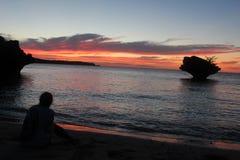 Okinawan ocean sunset after a hurricane royalty free stock photos