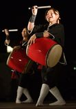Okinawan drum group performing at night. Kagoshima City, Japan, September 29, 2007. An Okinawan drum group performs onstage at night royalty free stock image
