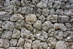 Background texture from a natural rock wall of fitted stones built without mortar Stock Photo