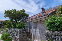 Okinawan stilhus i den Taketomi ön, Okinawa, Japan arkivbild