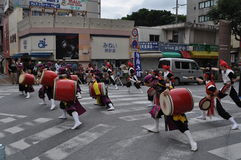 Okinawan Taiko Drummers Royalty Free Stock Images