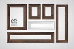 Okkernoot houten kader op witte achtergrond Stock Foto