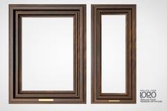 Okkernoot houten kader op witte achtergrond Royalty-vrije Stock Afbeelding