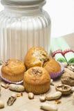 Okkernootmuffin op een witte achtergrond stock foto's