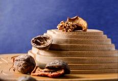 Okkernoten en droge vruchten op een houten steun in de vorm van een piramide Stock Fotografie
