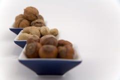 Okkernoten, hazelnoten en pinda's in drie kommen Royalty-vrije Stock Afbeeldingen