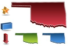 Oklahoma 3D. Set of 3D images of the State of Oklahoma with icons Royalty Free Stock Images