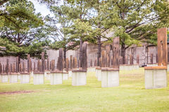 The Oklahoma Bombing Monument with empty chair sculptures that m Stock Photography