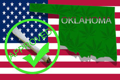 Oklahoma  on cannabis background. Drug policy. Legalization of marijuana on USA flag,. Oklahoma on cannabis background. Drug policy. Legalization of marijuana on Stock Photos