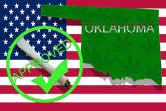 Oklahoma  on cannabis background. Drug policy. Legalization of marijuana on USA flag, Stock Photos