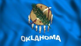 Oklahoma chorągwianego stanu usa w wiatrze ilustracja wektor