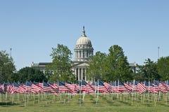 Oklahoma City Capitol. Flags on the Field in Capital of Oklahoma City, USA Royalty Free Stock Photos