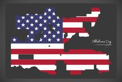 Oklahoma city map with American national flag illustration. Oklahoma city map with American national flag Stock Images