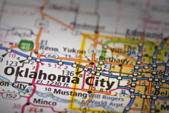 Oklahoma City on map. Closeup of Oklahoma City, Oklahoma on a road map of the United States royalty free stock images