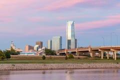 Oklahoma City Skyline at Sunset. OKLAHOMA CITY,OK - OCTOBER 11, 2017: Skyline of Oklahoma City, OK during sunset Royalty Free Stock Photo