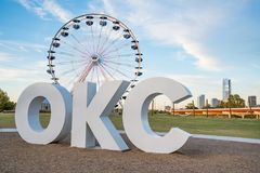 Oklahoma City OKC Ferris Wheel Immagini Stock