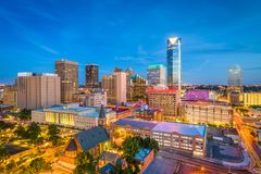 Oklahoma City, Oklahoma, USA Skyline. Oklahoma City, Oklahoma, USA downtown skyline at twilight stock photography