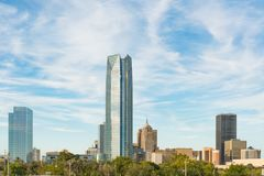 Oklahoma City Skyline. Skyline of Oklahoma City, OK during the day with cloudly sky Stock Images