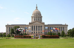 Oklahoma  state capitol. With flags, USA Royalty Free Stock Photo