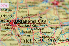 Oklahoma City sulla mappa Fotografie Stock Libere da Diritti