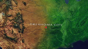 Oklahoma City - United States Zoom In From Space. Zoom to geographic earth from space 4K Resolution animation stock footage