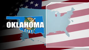 Oklahoma Countered Flag and Information Panel stock video