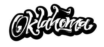 oklahoma etikett Modern kalligrafihandbokstäver för serigrafitryck Royaltyfria Foton