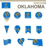 Oklahoma Flag Collection. USA State, 12 versions stock illustration