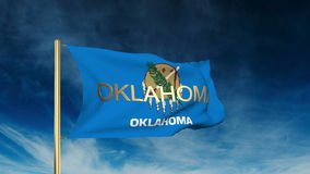 Oklahoma flag slider style with title. Waving in stock footage
