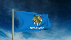 Oklahoma flag slider style. Waving in the win with. Oklahoma flag slider style. Waving with cloud background animation stock video footage