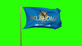 Oklahoma flag with title waving in the wind stock video