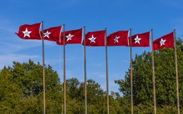 Oklahoma Flags at State Capitol in Oklahoma City Stock Photos