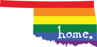 Oklahoma gay pride state sign. LGBT community pride U.S. state decal: easy-edit layered EPS10 file scalable to any size without quality loss vector illustration