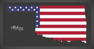 Oklahoma map with American national flag illustration Stock Photo
