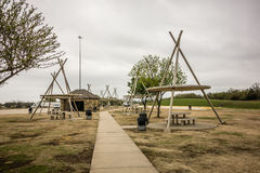 Oklahoma picnic rest area structures Stock Photo