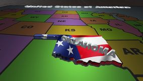 Oklahoma pull out from USA states abbreviations map. State Oklahoma pull out from USA map with american flag on background. A map of the US showing the two stock video footage