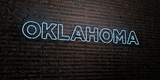 OKLAHOMA -Realistic Neon Sign on Brick Wall background - 3D rendered royalty free stock image Stock Photo