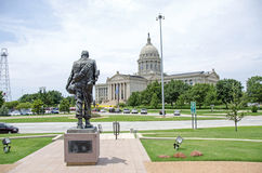 Oklahoma State Capitol with war memorial Royalty Free Stock Photography