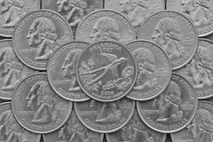 Oklahoma State and coins of USA. Royalty Free Stock Images