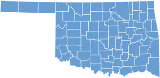 Oklahoma State map by counties stock image