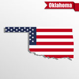 Oklahoma State map with US flag inside and ribbon Royalty Free Stock Image