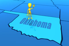 Oklahoma state outline with yellow stick figure Royalty Free Stock Photo