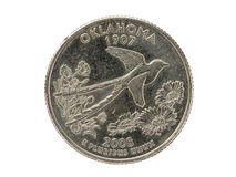 Oklahoma State Quarter Coin Royalty Free Stock Photos