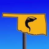 Oklahoma tornado warning sign Stock Photo