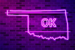 Free Oklahoma US State Glowing Purple Neon Lamp Sign Royalty Free Stock Images - 218436749