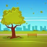 oklarheter över vita parksommartrees Royaltyfri Bild