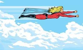 oklarheter som flyger superheroine stock illustrationer