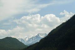 oklarhetsberg över område Blå himmel och grönt gräs i en dal Royaltyfri Fotografi