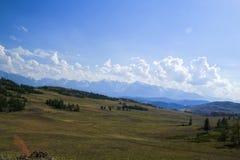 oklarhetsberg över område Blå himmel och grönt gräs i en dal Royaltyfri Bild