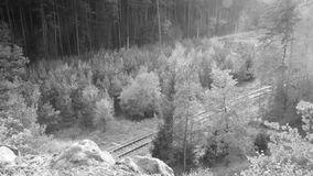 Okna, Τσεχία - 13 Οκτωβρίου 2017: επιβατική αμαξοστοιχία στη διαδρομή 080 μεταξύ των σταθμών τρένου Okna και Bezdez σε φθινοπωριν απόθεμα βίντεο